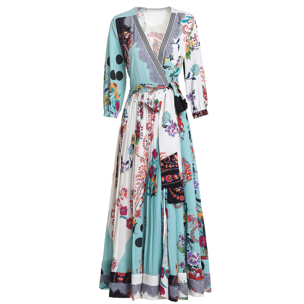 2017 Autumn Women's High Quality 3 Quarter Sleeve V neck Vintage Flower Printed Tied Waist Draped Large Swing Ankle length Dress-in Dresses from Women's Clothing    1