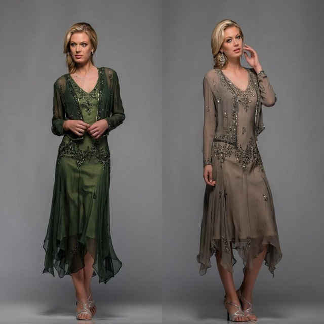 Green 2019 Mother Of The Bride Dresses A-line Chiffon Lace Beaded With Jaceket Wedding Party Dress Mother Dress For Wedding