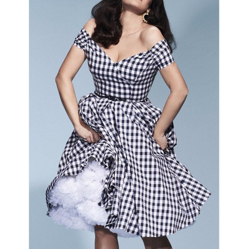 Swing vintage Noir Pin Show En Plus Rockabilly As Audrey 40 up Fatale Décolleté S Blanc Robes Taille Vichy Coeur Robe Hepburn 50 8wPwqTd1x
