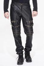 New Steampunk Winter Gothic British Street Punk Rock Straight Trousers Male Fashion Hight Quality PU Casual Men Pants
