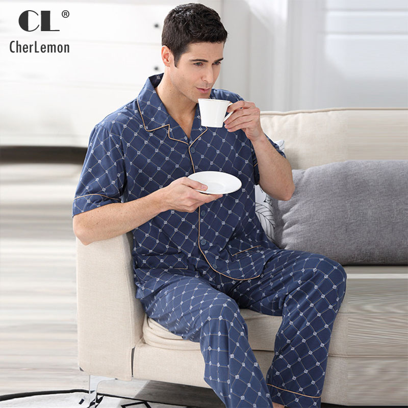 CherLemon Mens Summer Pajama Set Soft Cotton Short Sleeve Knitted Pyjama  Sleepwear Classic Plaid Nightwear For Middle Aged Male-in Men s Pajama Sets  from ... 630b7220d