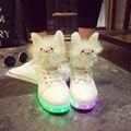 Милые Животные Женщины Led Обувь Usb Аккумуляторная Высокие Верхние Женщины Плоские Туфли Круглым Носком Испуская Светящиеся Обувь G47 35