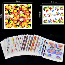 LCJ 1 Set 28 Designs Hot Cartoon Flower Cat etc Water Decals Nails Stickers Women Designs Lovely DIY Decorations For Nails Art(China)