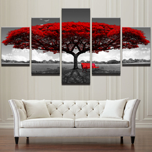 hot deal buy home decor hd printed wall art pictures 5 piece red tree art scenery landscape canvas painting home decor for living room pengda