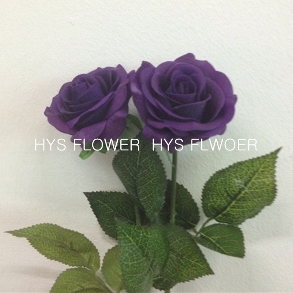 Free Shipping Artificial Roses Bulk Top Quality Latex Real Touch Single Stem Dark Purple Rose