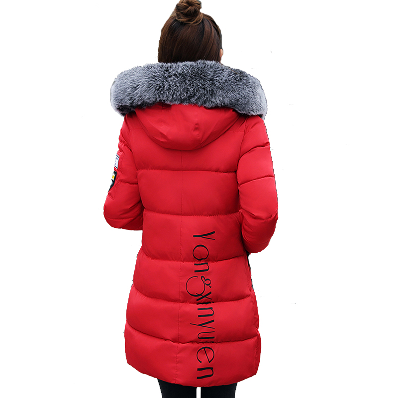 2017 hooded plus size 3XL long women winter jacket with fur collar warm thick parka cotton padded female fashion womens coat yi la 2017 new winter fur collar hooded down cotton coat fashion women s long coat cotton warm jacket parka plus size 3xl s869