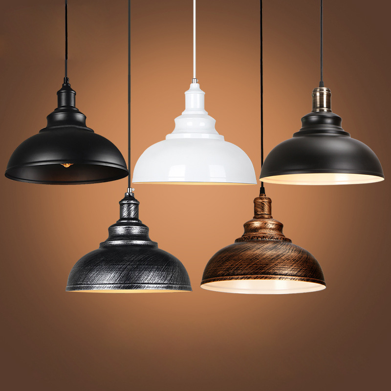 Black hanging Hardware lights Loft retro Industrial pendant lamp e27 cord illumination for font b dining