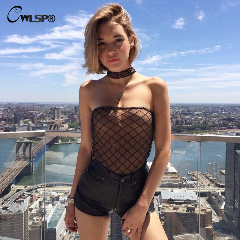 18ab09a44ad CWLSP Sexy Slash neck Bodysuit Women See through Mesh Slash Neck Sheer  playsuit off the shoulder Overalls Bodysuits QL3010-in Bodysuits from  Women s ...