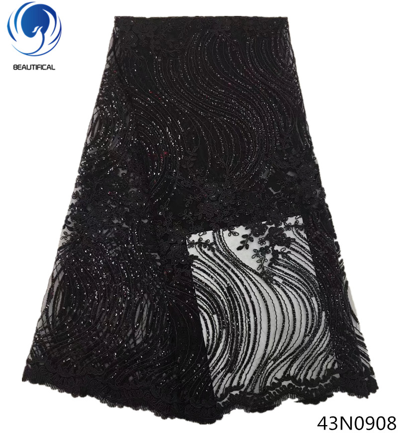 Beautifical cheap christmas fabric french sequin fabric lace glitter black african lace fabric 5yards per lot for clothes 43N09Beautifical cheap christmas fabric french sequin fabric lace glitter black african lace fabric 5yards per lot for clothes 43N09