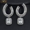 Gorgeous CZ Diamante Simulado Joyería Partido de Las Mujeres de Plata Plateado Cuadrado Grande Pendientes de Gota Para La Boda Nupcial Regalo CZ336