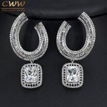 Gorgeous CZ Diamond Party mujeres joyería de plata chapada cuadrado grande pendientes de gota para la boda regalo nupcial CZ336