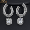 Gorgeous CZ Simulated Diamond Women Party Jewelry Silver Plated Large Square Drop Earrings For Wedding Bridal Gift  CZ336