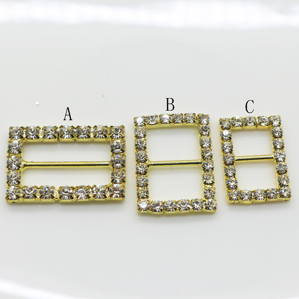 Shiny Rectangle 10pc golden Rhinestone Buckle Diamante Ribbon Slider ...