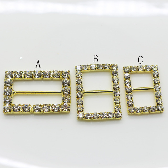 Shiny Rectangle 10pc golden Rhinestone Buckle Diamante Ribbon Slider  Wedding Invitation card Decoration buckles metal crystal ac351b0aeeeb