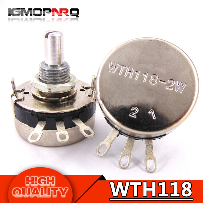 5pcs Wth118 2w 1a Potentiometer 1k 2.2k 4.7k 10k 22k 47k 100k 470k 1m Wth118-2w Round Shaft Carbon Rotary Taper Potentiometer Potentiometers