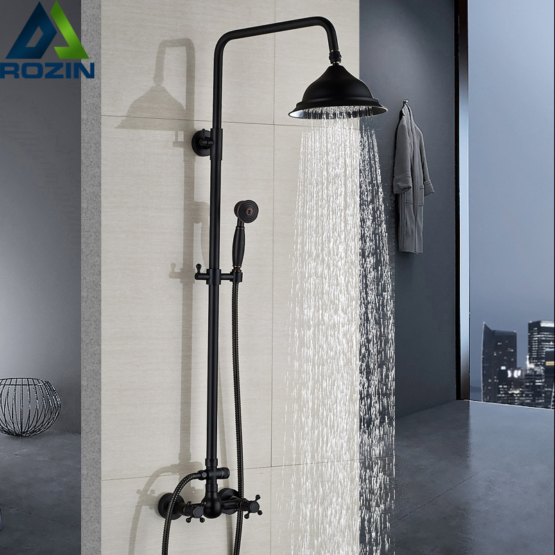 цена на Bathroom Rainfall Shower Mixer Faucet Dual Handle Brass Black Shower Set Faucet Wall Mount Rainfall Shower Mixer Tap Handshower