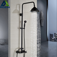 Bathroom Rainfall Shower Mixer Faucet Dual Handle Brass Black Shower Set Faucet Wall Mount Rainfall Shower Mixer Tap Handshower