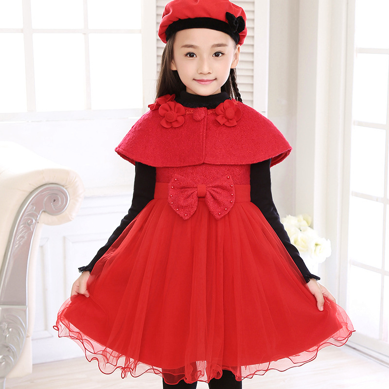New Red Cute Casual Winter Girl Dress with Little shawl Kids Baby Children Christmas New Year Dress Princess Party Clothes Set baby dress shawl girl princess dress