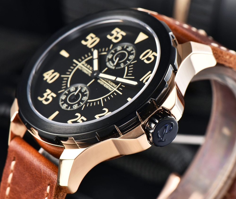 2017 Newest Men s Mechanical Watches Parnis 44mm Power Reserve Automatic Watch Men Waterproof Luminous Wrist