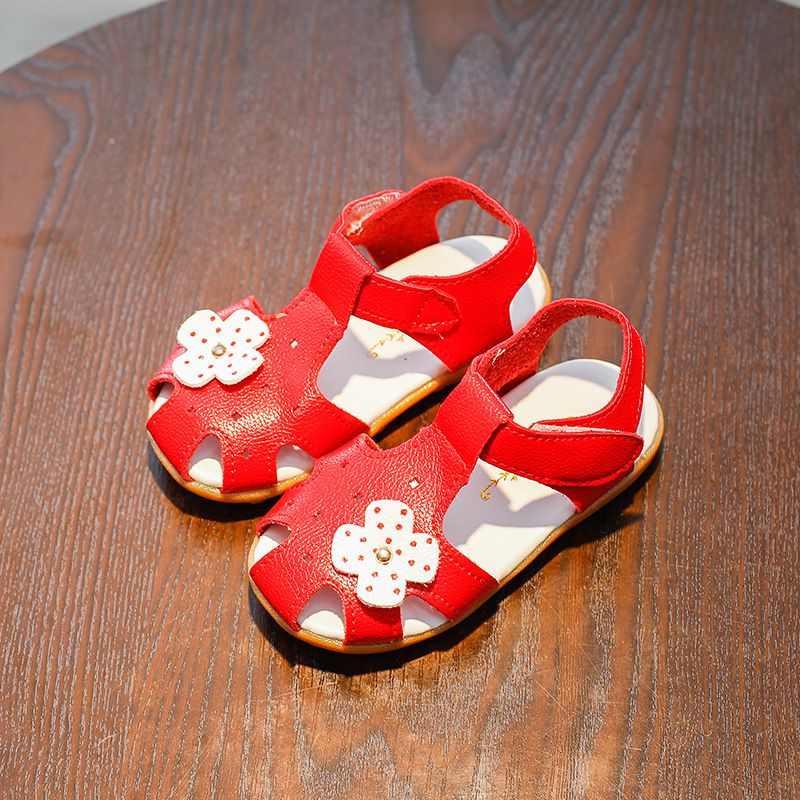COZULMA Girls Protect-Toe Beach Sandals Kids Solid Color Anti-slip Children Flower Slippers Baby Toddler Cut-Outs Sandals Shoes