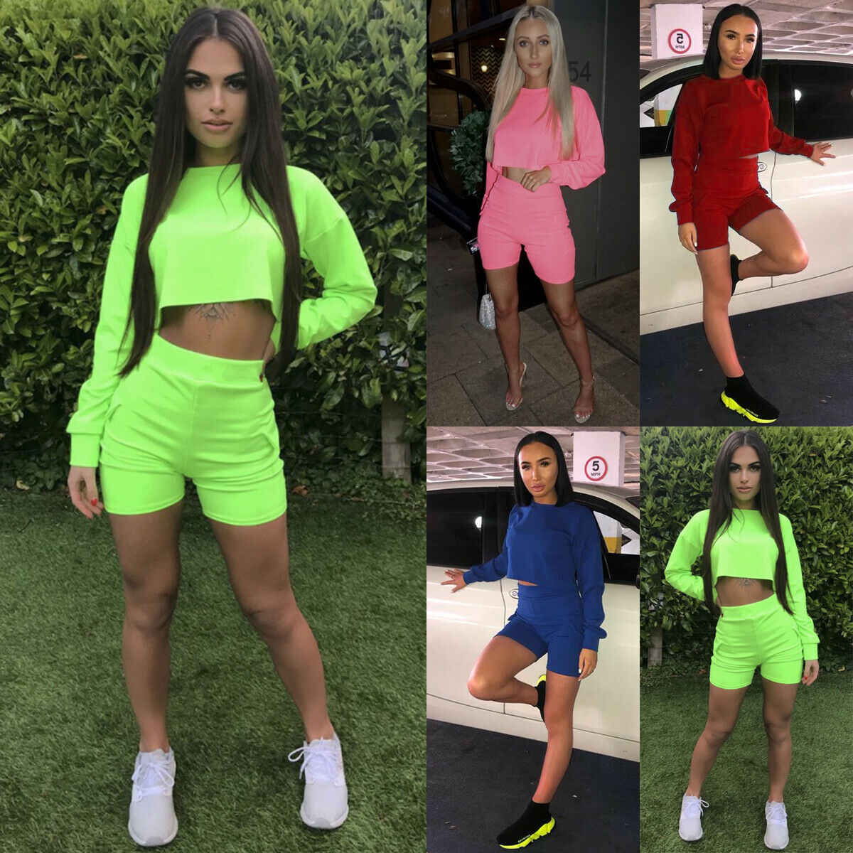 Women 2 Piece Outfit Yoga Sets Long Sleeve Crop Top Short Pants Set Casual Clothes Sets 3 Colors
