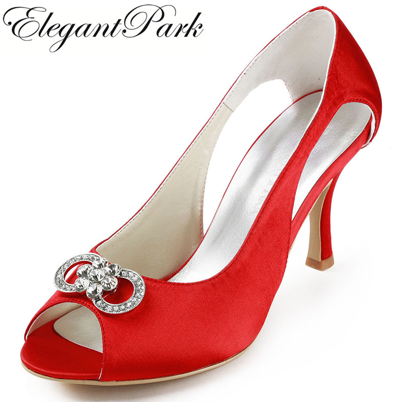 Sexy Women Shoes  EP11125 Red high heel pumps Peep Toe Rhinestones Satin Evening Party wedding shoes made to order red sequin women shoes peep toe 2015 shoes women thick heel shoes for women sexy pumps shoes for high heeled