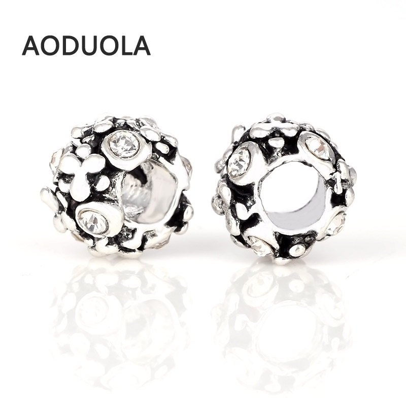 10 Pcs a Lot Silver Alloy Bead Round Shape With Rhinestones DIY Big Hole Beads Spacer Murano Bead Charm Fit For Pandora Bracelet
