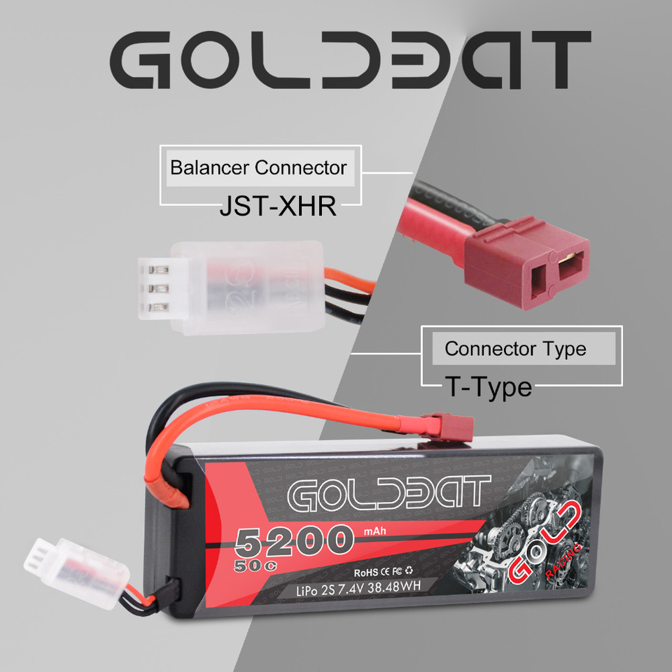 GOLDBAT 5200mAh 7.4V 50C 2S LiPo RC Battery Pack With Hard Case Deans Plug For