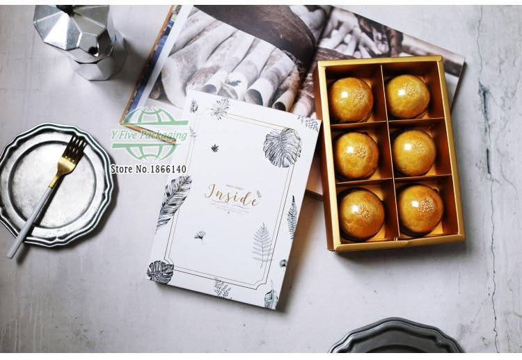 24x16.5x5.3 cm bronzant plante Mooncakes boîte-cadeau, bonbons boîte-cadeau, collations 6 Mooncakes Macaron Biscuits boîte d'emballage 100 pcs/lot