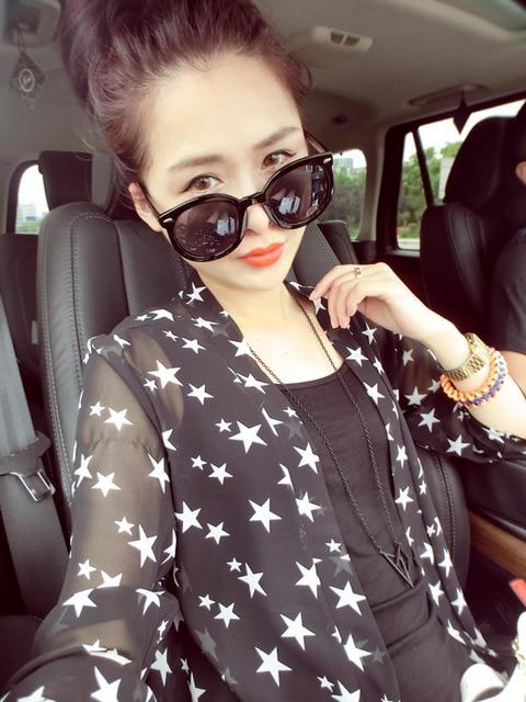 Loose sleeve medium-long wrist-length cardigan sun protection clothing chiffon shirt thin outerwear women's