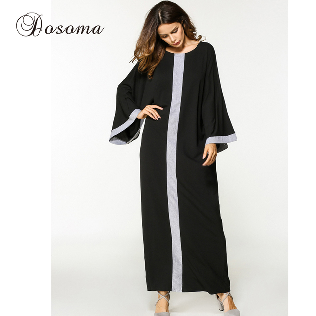 Casual Muslim Abaya Maxi Dress Long Sleeve Robe Gowns Loose Style Moroccan Burka Kaftan Hijab