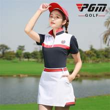 Pgm Golf Summer Soft Slim Golf T-Shirts Breathable High Elastic Sport Suit Short Sleeve Tops Short Skirt For Ladies AA60482