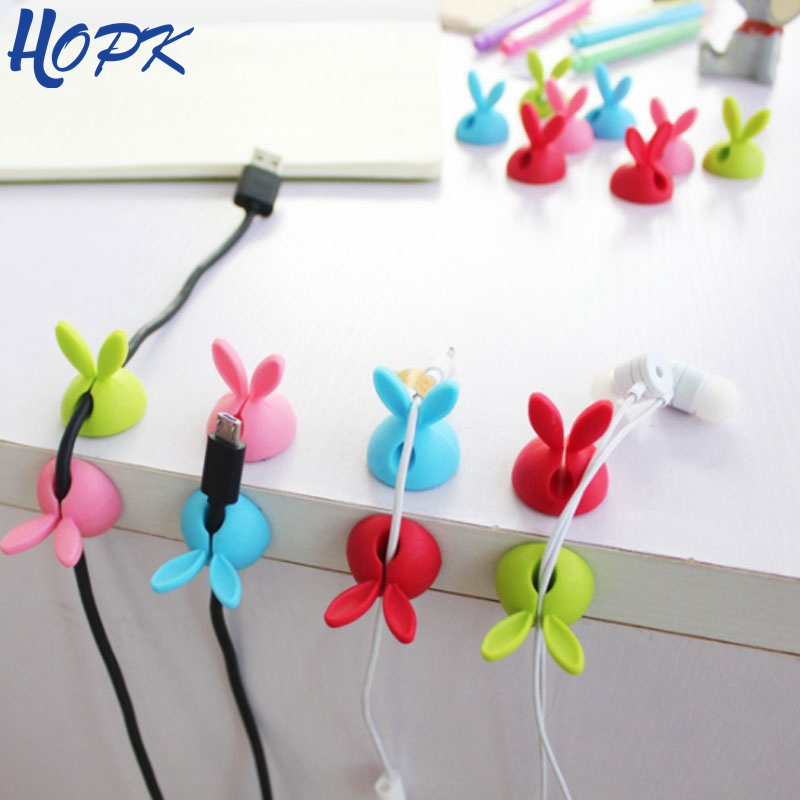 4pcs/bag Winder Wrap Cord Cable Storage Desk Set Rabbit Shaped Wire Clip Organizer Space Saving Desk Accessories Office Supplie