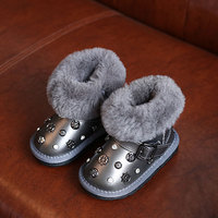 2017Winter Children Snow Boots Kids Baby Girls Winter Shoe With Fur Rivet Ankle Boots For Girls