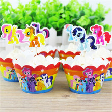 My Little Horse Cupcake Cartoon Cake Side Dessert Inserted Card Toppers Birthday Party Paper Decor Supplies 24pcs /set