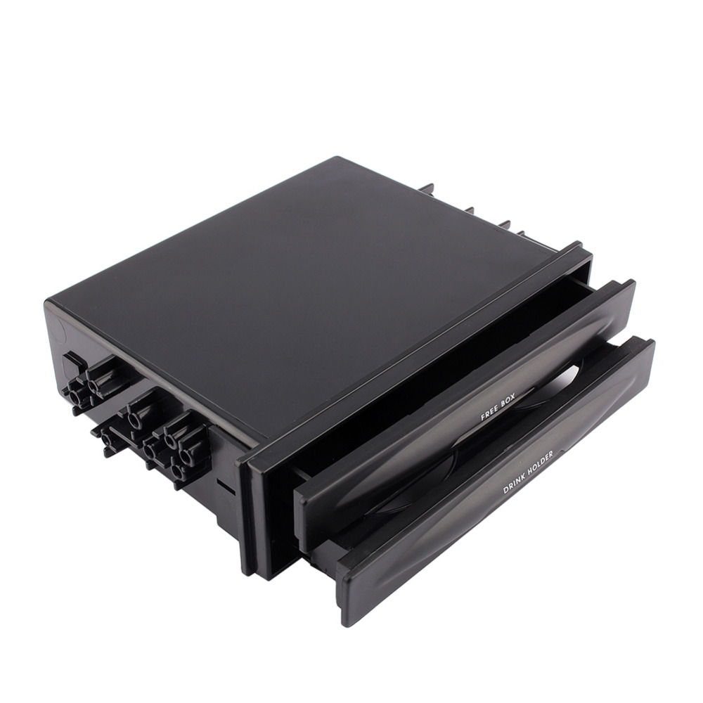 Universal Vehicle Car Black Double Din Radio Pocket Drink Cup Holder Storage Box