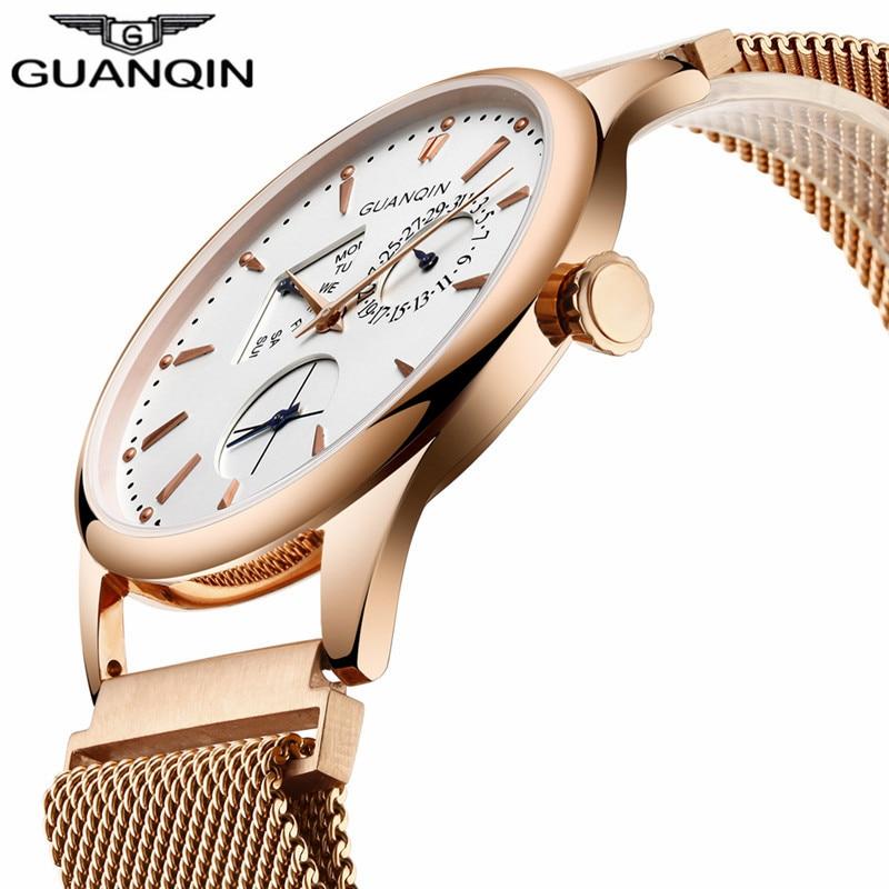 2017 GUANQIN Mode Hommes Montres Top Marque De Luxe Jour Date Montre À Quartz En Acier Inoxydable Hommes Étanche Mâle Horloge Reloj Hombre