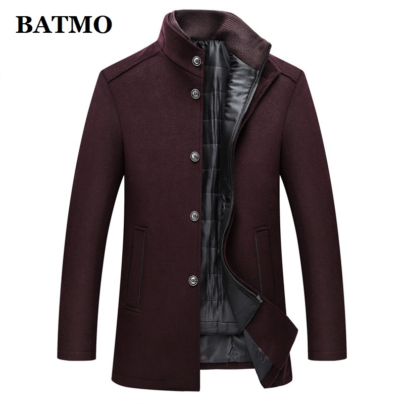 BATMO 2019 New Arrival Winter High Quality Wool Thicked Trench Coat Men,men's Winter Wine Red Jackets,plus-size M-XXXL,AL01