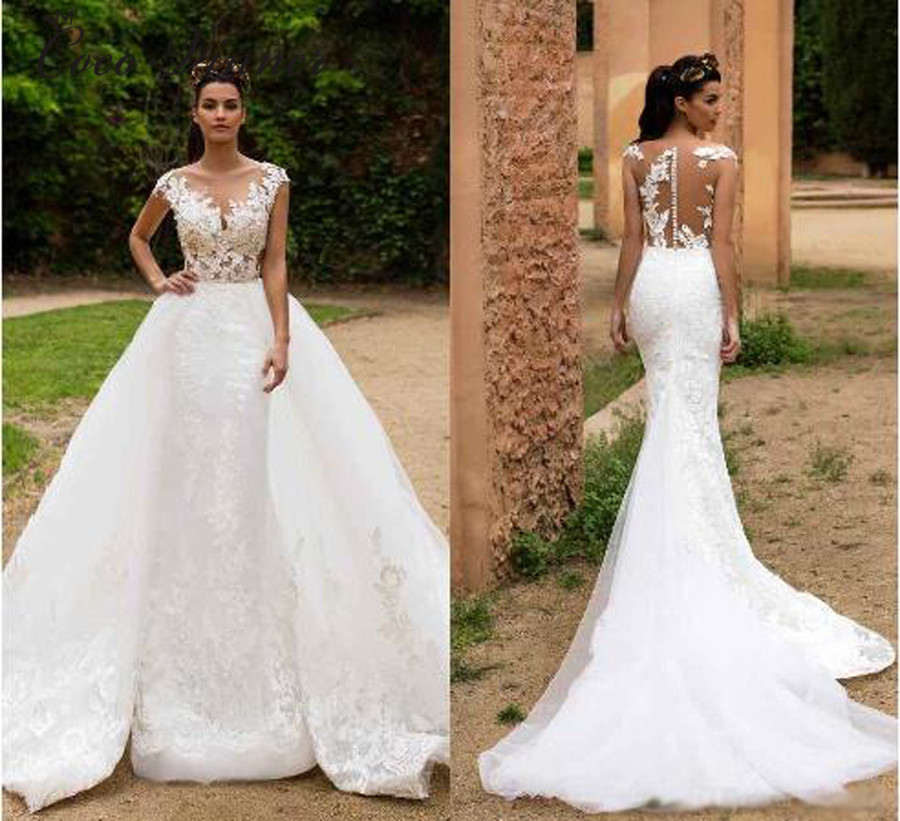 Detachable Trains For Wedding Gowns: Vintage Arabic Mermaid Wedding Dress With Detachable Train