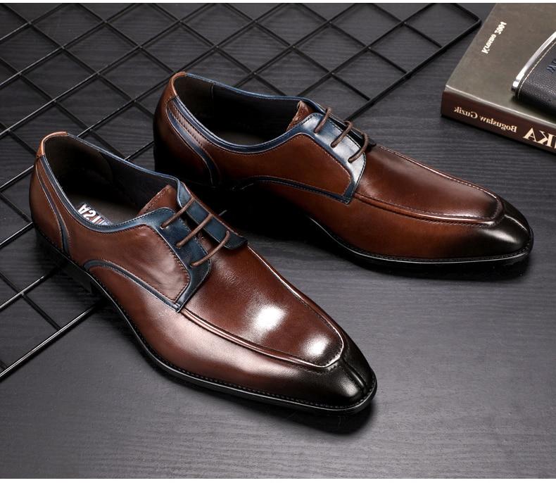 Men's Casual Shoe Business Mens Genuine Leather Shoes Men Big Size 45 Casual Leather Oxford Shoes For Men Lace Up Brogues Formal (1)