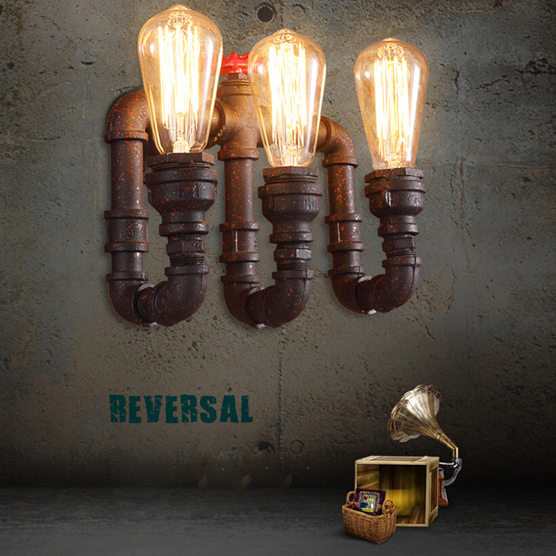 Steam punk Loft Industrial 2/3 lights rust Water pipe retro wall lamp Vintage E27/E26 sconce lights for living room bedroom bar