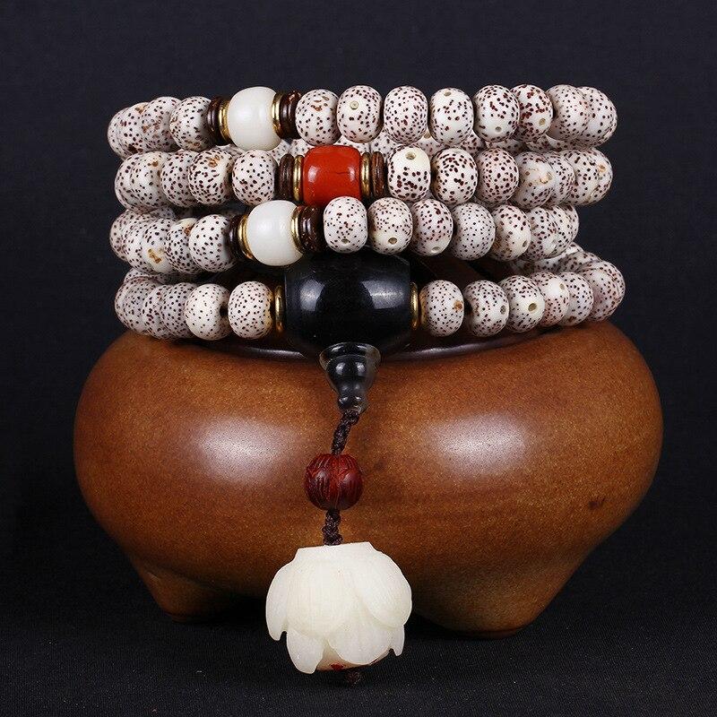 Bracelets originaux Hainan Xingyue 108 suspendus modèles lotus les Bracelets de perles lobulaires haute densité à broyage à sec