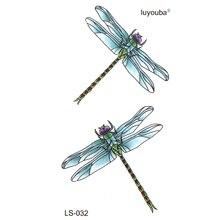 Temporary Tattoos Dragonfly Harajuku Tatoo-Sleeves Faux-Tatouage Waterproof Blue Espada