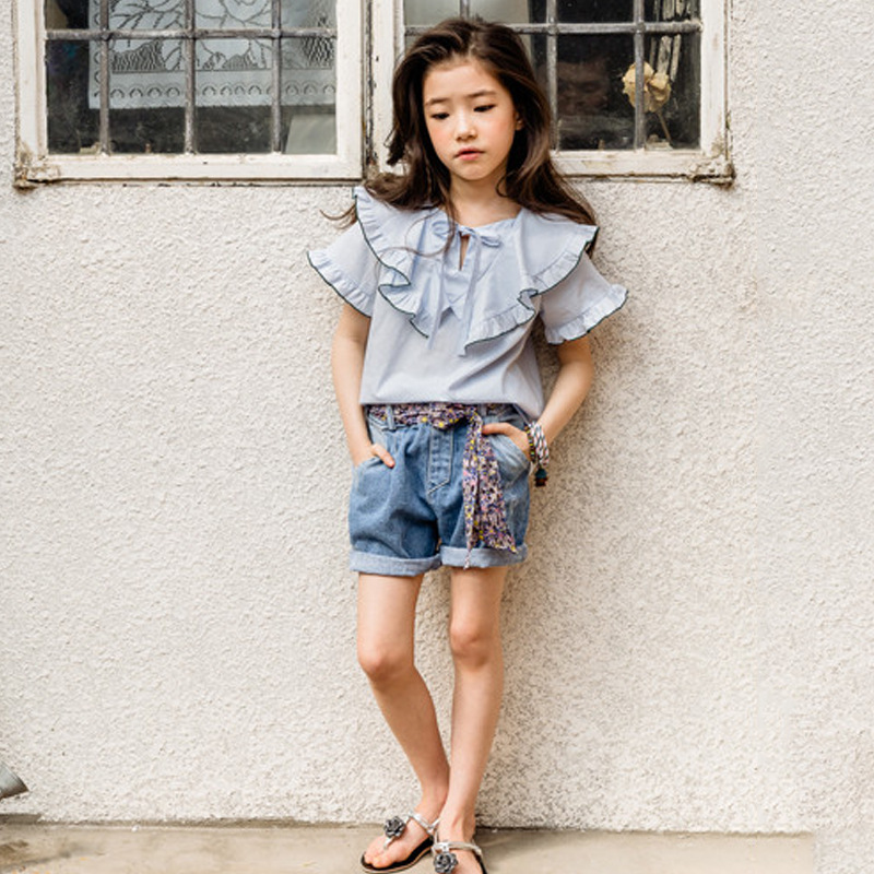 Girls Fashion Suit Summer Ruffle Collar T-shirt and Bow Belt Denim Shorts 2pcs / Set Cute Shirt Children's Clothing Set CC962 lonsant new 2018 summer baby girls kids girls love heart bow vest t shirt bow plaid shorts set sleeveless round neck clothing