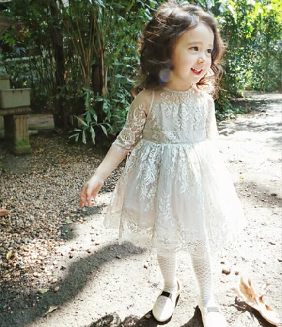 Princess 2017 Summer girls dress with sheer lace top tutu dress Korean style celebrity children girls kids clothes For Age 2-7T