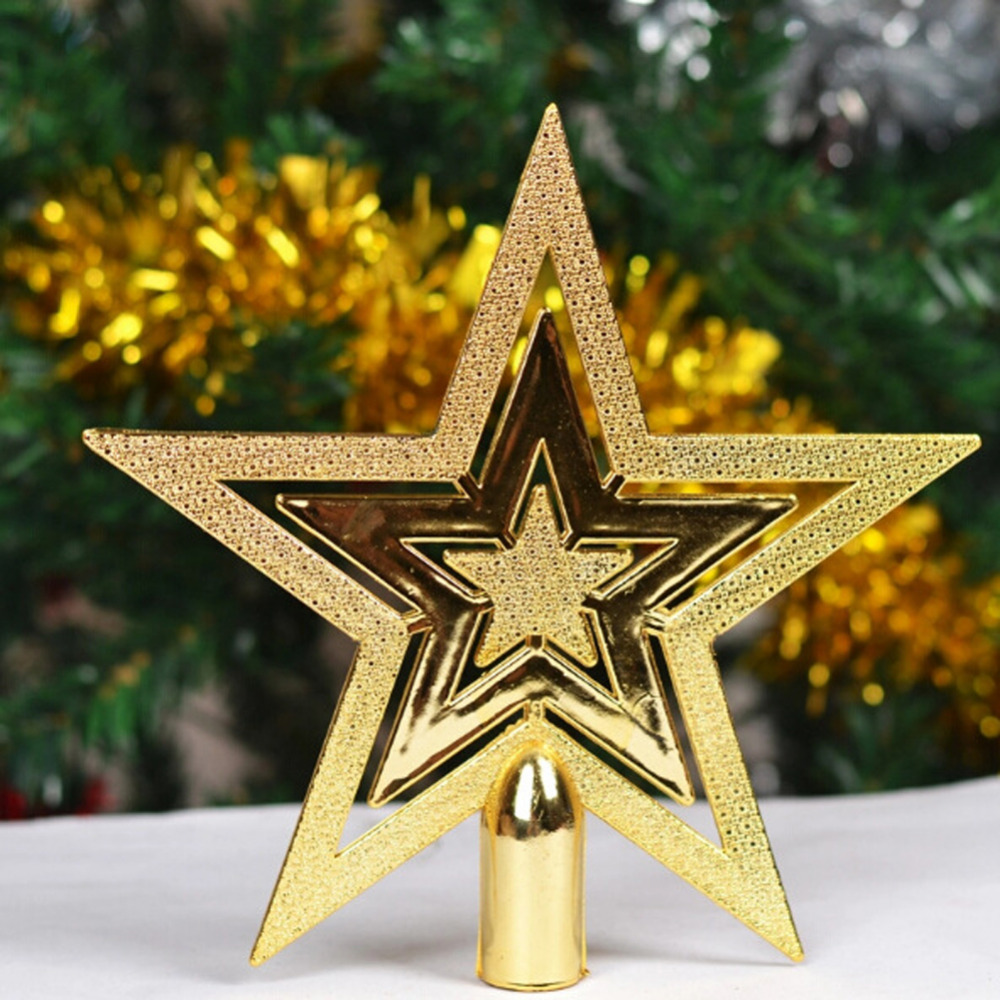 1Pcs Shining Star Christmas Tree Top Ornament 2 Sizes Gold