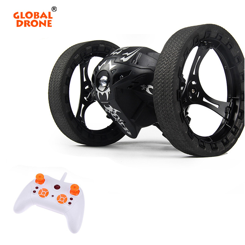 Global Drone RC Car Bounce with Flexible Wheels 2.4G Remote Control Toys Jumping Car with LED Light RC Robot Car Gifts for kids