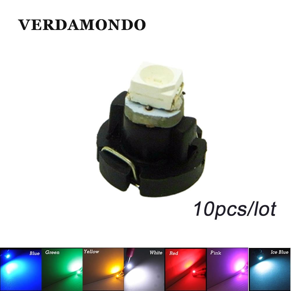 10Pcs  T3 LED 3528 SMD Indicator Light Bulb Car Cluster Gauges Dashboard Instrument Panel Side Turn Lamp DC12V 7 Colors
