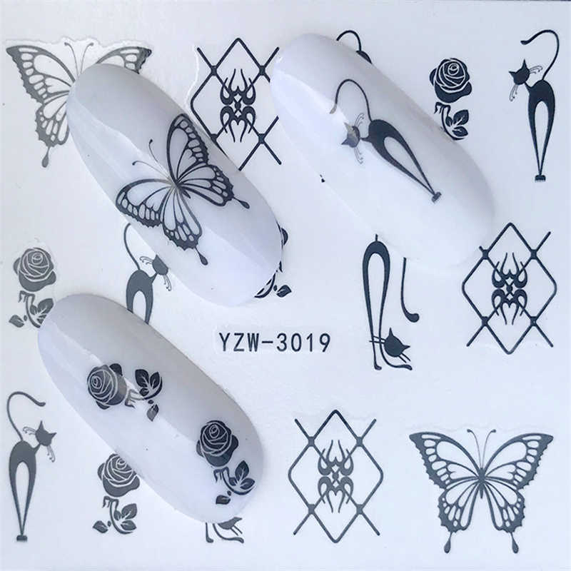 1PC Semplice Nero Artistico Stencil Unghie artistiche di Trasferimento Dell'acqua Autoadesivo Gel Polish Pieno Decorazione per le Unghie Strumento