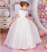 Girls Wedding Formal Dresses 2018 Autumn Chiffon Birthday Ball Gown Flowers Girls Princess Dress Kids Prom